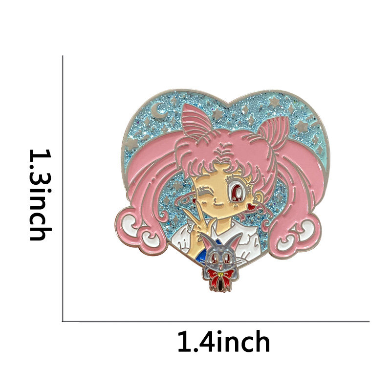 Sailor Moon Heart Usagi Tsukino Brooch Magical Girl Powers Enamel Pins In the Name of the Moon Badge Pretty Cure Anime Pins