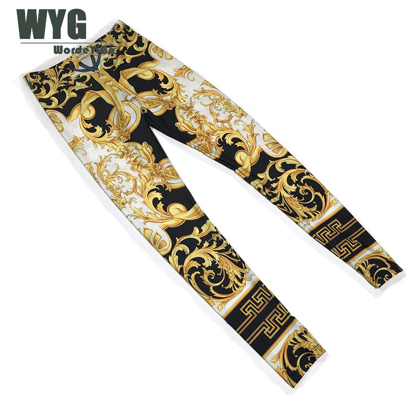 Baroque Style Elastic Leggings 2020 Spring Summer New Arrival America Fashion Gold Printed Trousers