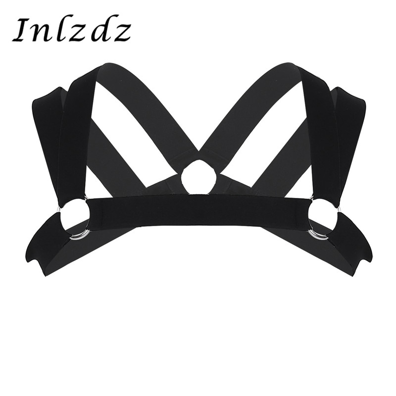 Harness Mens Sexy Double Shoulder Straps Elastic Chest Muscle Harness Belt With Metal O-rings Fancy Club Party Exotic Costume
