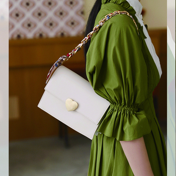 Classic Leather Luxury Elegant Ladies Handbags Women Messenger Bag Heart Clip Vintage Ribbon Chain Shoulder Crossbody Organ Bag