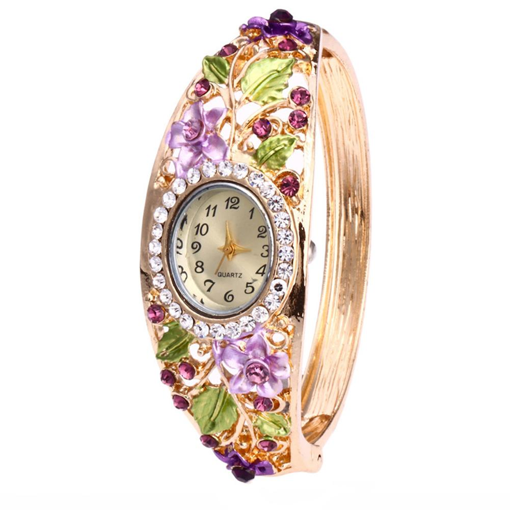 Ladies Watches 2019 Rhinestone Flower Bracelet Bangle Oval Dial Analog Quartz Wrist Waches Women Relojes Mujer часы наручные