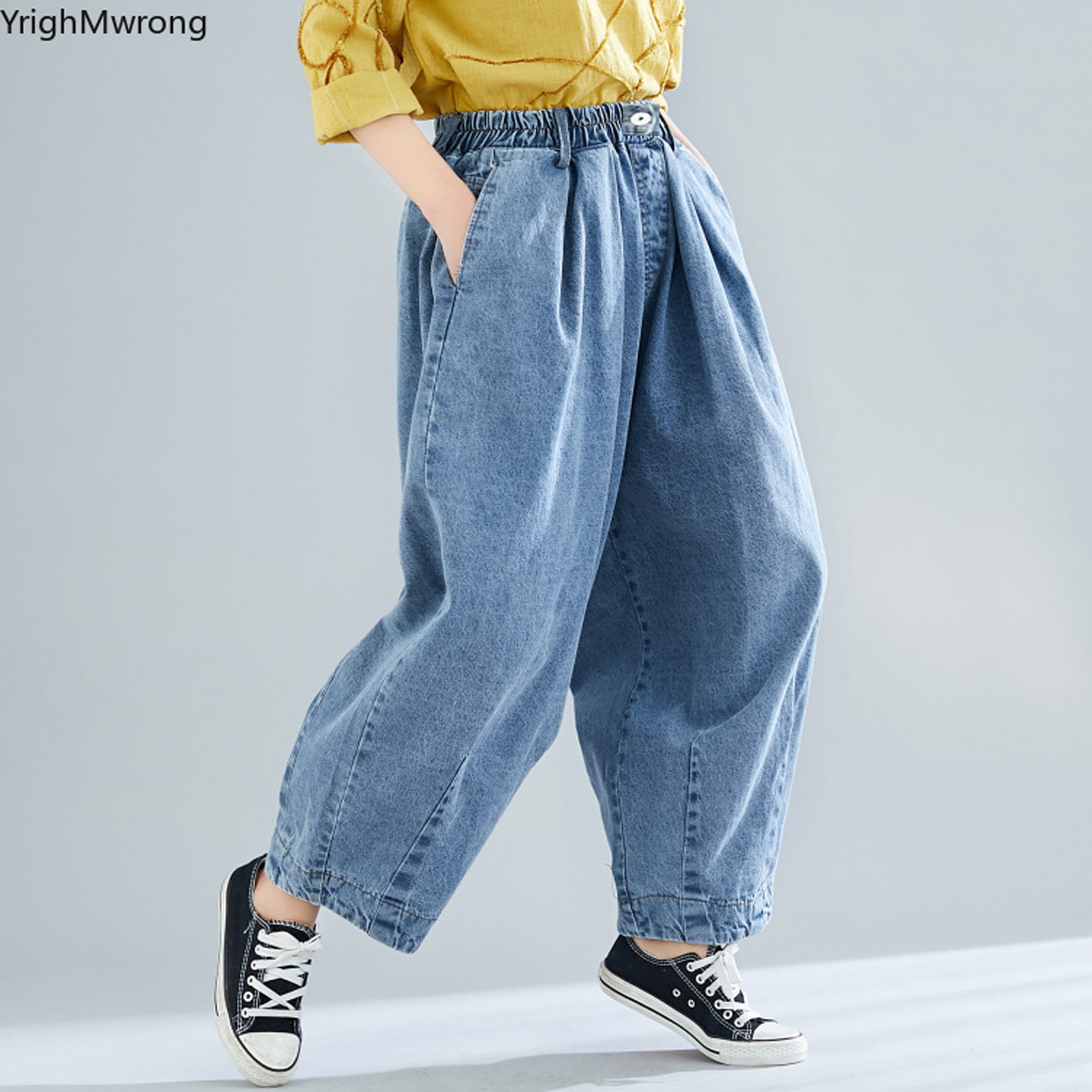 Lady Harem Trousers Baggy Loose Denim Cropped Capri Pants Jeans Oversize Classic