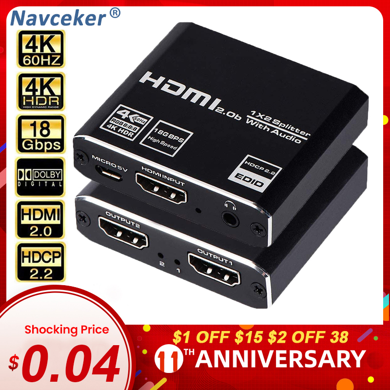 2020 1x8 4K UHD HDMI Splitter 2.0 1x2 HDMI 2.0 Splitter HDCP 2.2 HDR Splitter HDMI 2.0 4K 1x4 HDMI2.0 Splitter For XBox PS4 pro
