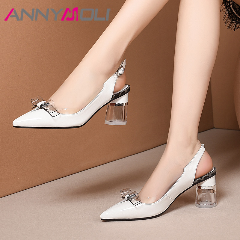 ANNYMOLI High Heels Women Pumps Natural Genuine Leather Bow Round High Heels Slingbacks Shoes Buckle Pointed Toe Shoes Ladies 39