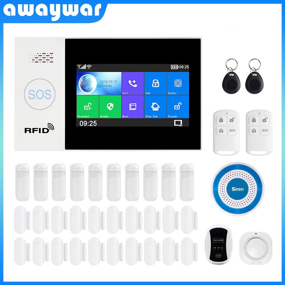 Awaywar WIFI GSM smart Alarm System home Security Burglar kit 4.3 inch touch screen APP Remote Control RFID Arm Disarm