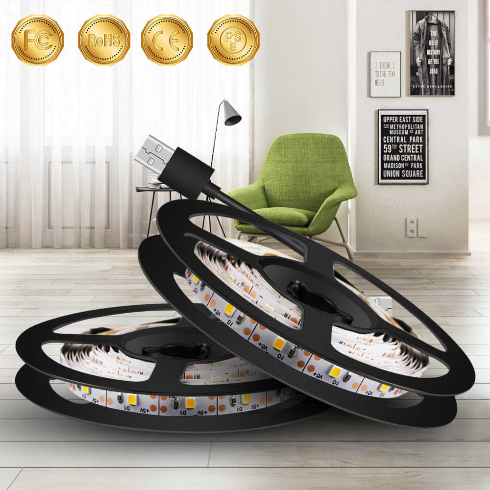 0.5M ~ 5M EU US Plug 220V LED Strip Verlichting USB 5V Led Strip TV Backlight lamp 2835 SMD Versieren Verlichting Indoor Luces Led Navidad