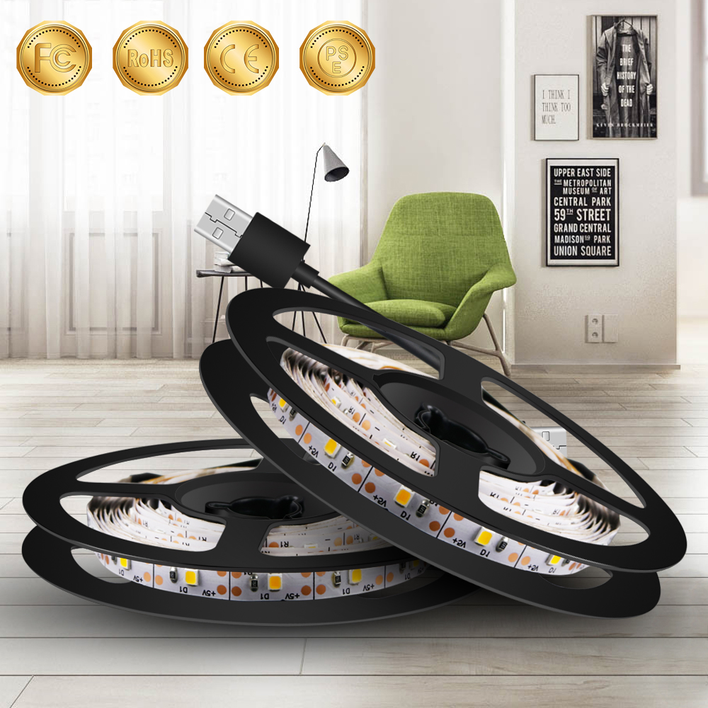 0.5M~5M USB Plug 220V LED Strip Lights USB 5V Led Strip TV Backlight Lamp 2835 SMD Decorate Lighting Indoor Luces Led Navidad
