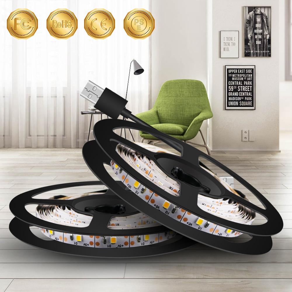 0.5M~5M USB Plug 220V LED Strip Lights USB 5V Led Strip TV Backlight Lamp 2835 SMD Decorate Lighting Indoor Luces Led Navidad