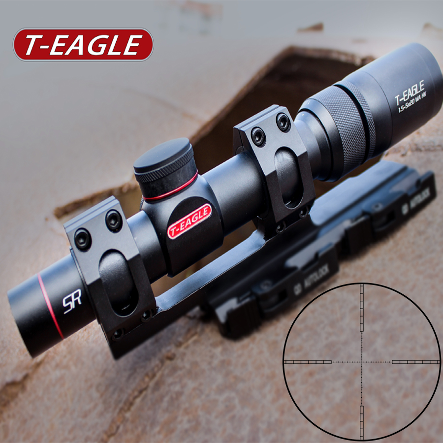 1.5-5x Tactical Riflescopes Outdoor Hunting Shooting Scope With 11 20mm Rail Mount 1/4MIL Click Value Optical Sight Rifle Scope