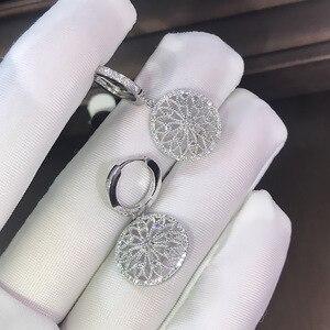 14K Gold Diamond Earring Hollow pure Gemstone for Women Peridot oorbellen bijoux femme Bizuteria Drop Earrings Jewelry Orecchini