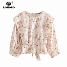 ROHOPO Beige Ruffles Crop Blouse Back Buttons Fly Floral Daisy Sashes Autumn Short Top Shirt #9247