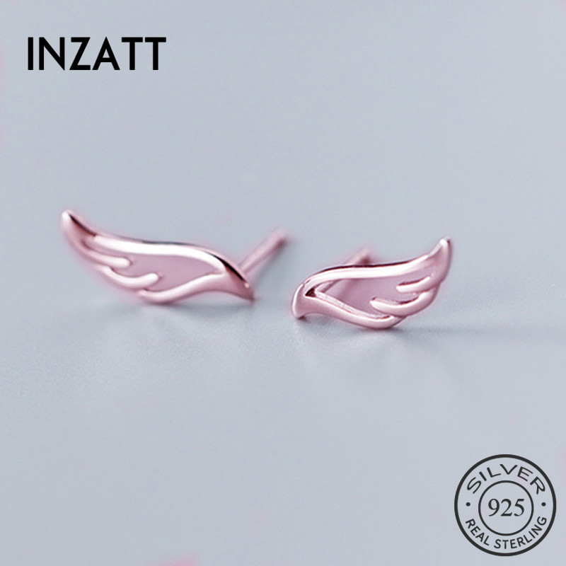 INZATT Real 925 Sterling Silver Hollow Wing Stud Earrings Fashion Women Fine Jewelry Party Cute Minimalist Accessories Gift