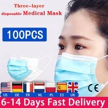 100 PCS Einweg Chirurgische 3-Schicht Masken staubdicht Schutz Masken Atmen Masken mit Ohrringe blau Medizinische masken
