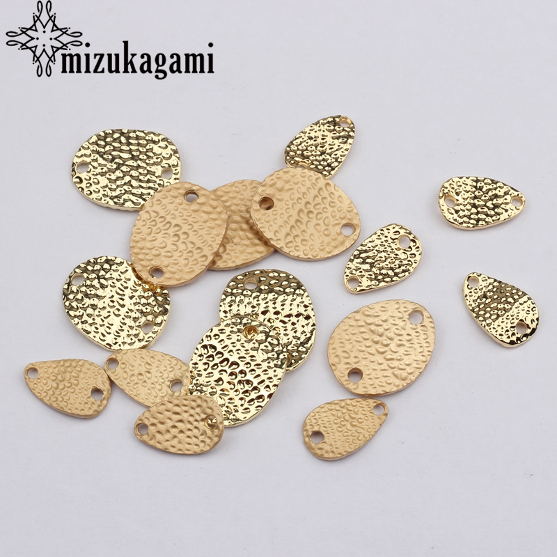 Zinc Alloy Golden Water Drop Oval Geometry Charms Earrings Connectors 6PCS For DIY Earrings Jewelry Making Finding Accessories