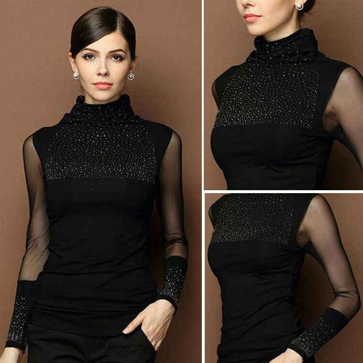 Hoge Hals Shiny Luxe Herfst Winter Trui Vrouwen Lange Mouw Trui Vrouwen Basic Trui Vrouwen Koreaanse Glitter Knit Top Vrouwelijke
