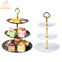 3 Tiers Sweets Candy Cake Stand for Wedding Party Cake Display Retro Cupcake Tray Plates Holder Plastic Tiered Dessert Tray 231