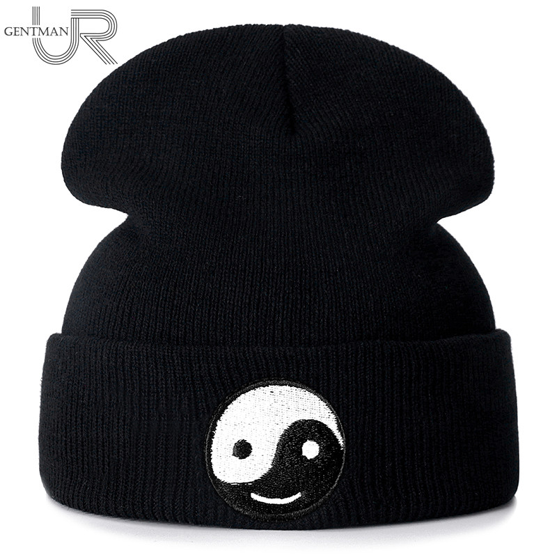 New Yin Yang Embroidery Casual Winter Hats For Men Women Fashion Knitted Hat Solid Color Streetwear Beanie Hat Unisex Ski Hat