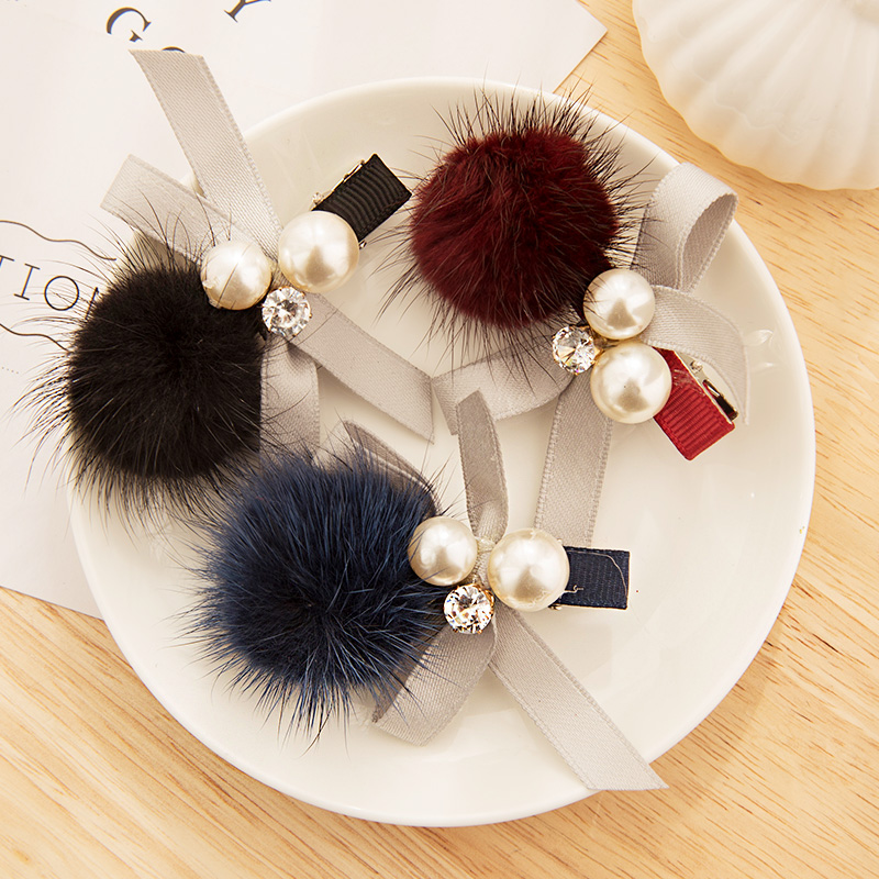 Women Cute Mink Hair Ball Pearls Crystal Bow Hairpins Sweet Headband Hair Ornament Barrettes Hair Clips Fashion Hair Accessories
