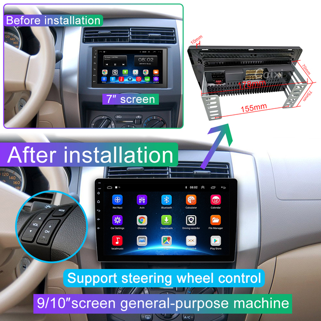 9/10 cal 32G R0M 2 din samochód Android 9.0 radio odtwarzacz multimedialny dla Nissan Toyota i Kia Volkswagen Suzuk hyundai Renault Honda