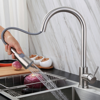 Stainless Steel Kitchen Faucets Swivel Sinks Faucet Rotating Tap Single Hole Handle Mixer 360 Degree Rotate