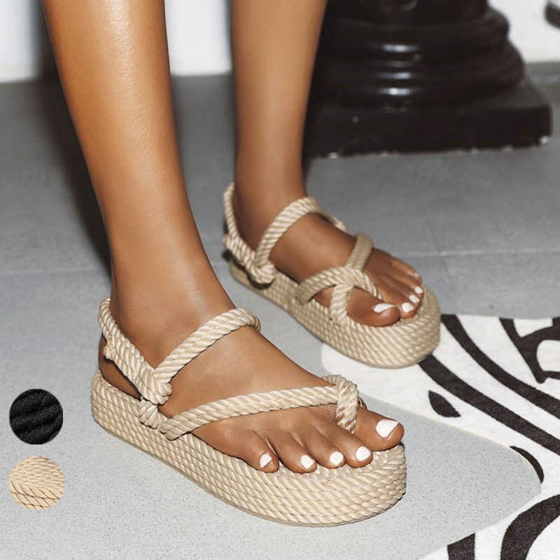 Buty na koturnie buty sandały gladiatorki płaska lina sandały damskie nastolatki dames letnie dames schoenen zomer sandalen dames