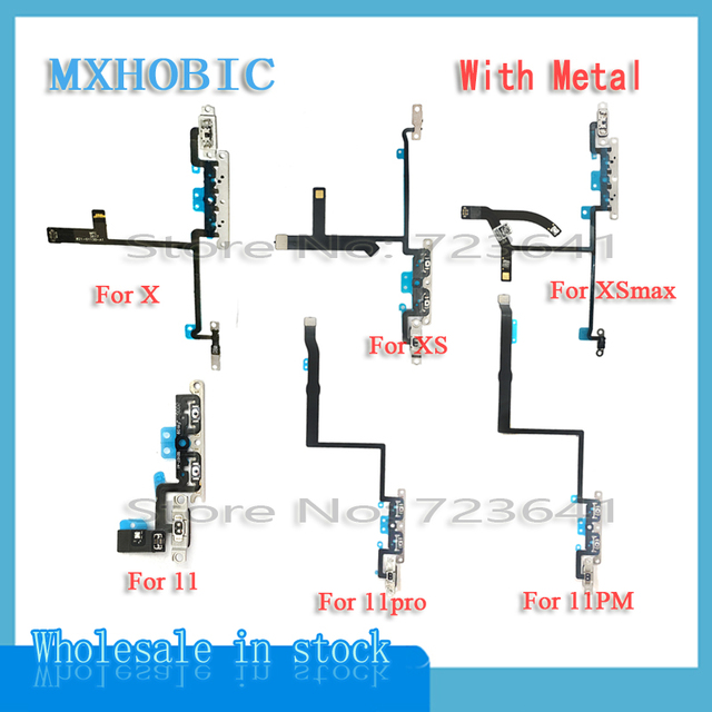 20pcs/lot Volume Button Flex Cable For iPhone X iX XS 11 Pro Max Mute Switch Control Ribbon with Metal Replacement Parts