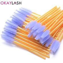 Okaylash pincel para cílios colorido, 25 pçs/lote escova descartável, dourada, rosa, cinza, óculos com pente ondulador