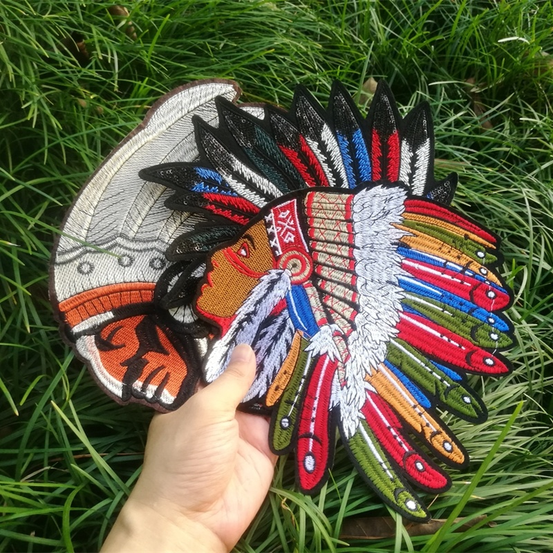 Embroidery Patches For Clothing Indian Feather Headdress Bag Biker Accessories Applique Stranger Things