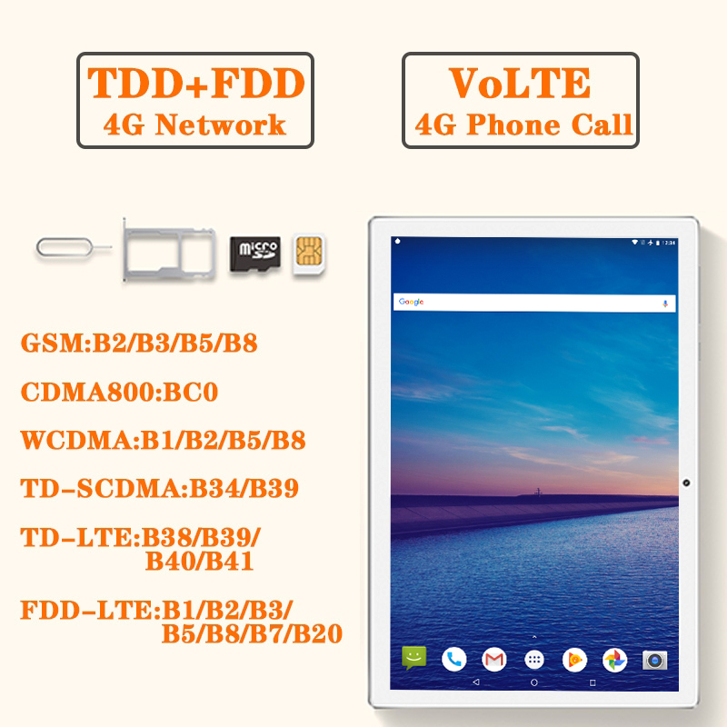 4G LTE 10.1 Inch 2.5D Glass Tablet Pc 10 Deca Core MTK6797 8GB RAM 128GB 256GB ROM 2560X1600 Android 8.0 Camera 13mp