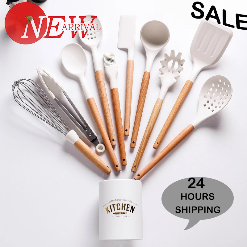 11PCS Silicone Cooking Utensils Non stick Spatula Shovel Wooden Handle Cooking Tools With Storage Box Kitchen Tool Accessories|Cooking Tool Sets|   - AliExpress