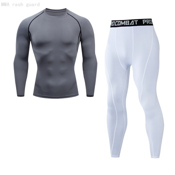 Tracksuit For Men 2021 New Tight tracksuit Winter warm shirt pants Jogging skin care kits Stretch Fitness MMA T shirt Men's Wear