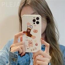 Caso engraçado do telefone do urso do bordado para o iphone 12 mini 11 pro max 7 8 plus x xr xs max se 2020 alívio de couro dos desenhos animados capa macia