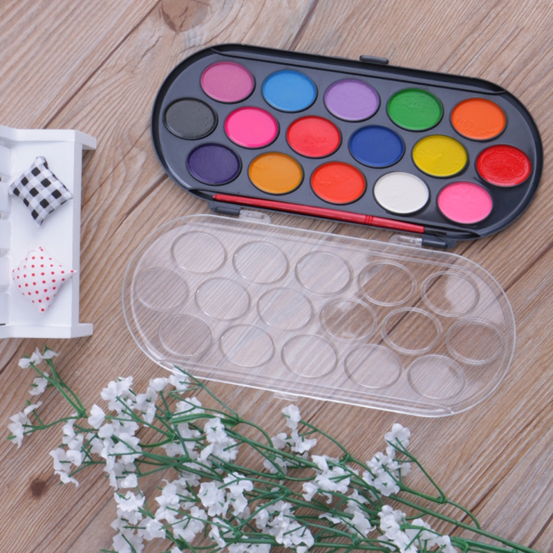 16Pcs Watercolor Palette Brush Set Painting Tray Craft Drawing Art Mini Kid Gift Pigment Powder M0XB