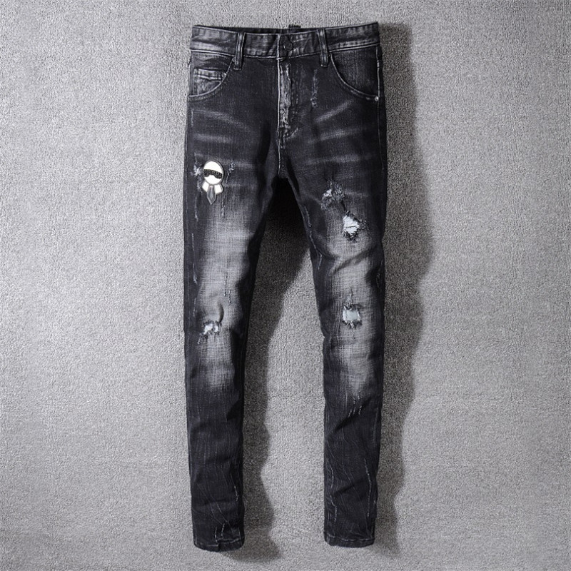 New Italy Style Men 39 s Monster Art Patches Pants Washed Skinny Denim Black Jeans Slim Trousers Size 29 40 3315 in Jeans from Men 39 s Clothing
