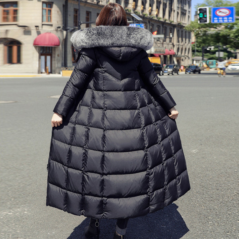 2019, плюс размер, белая куртка на утином пуху, мех енота, модная зимняя парка, длинная, толстая, теплая, гусиное перо, пальто, женская одежда, DD077 - 3