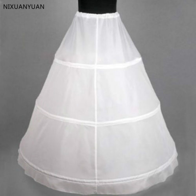 Wholesale White 3-HOOP Ball Gown BONE FULL CRINOLINE PETTICOAT WEDDING SKIRT SLIP