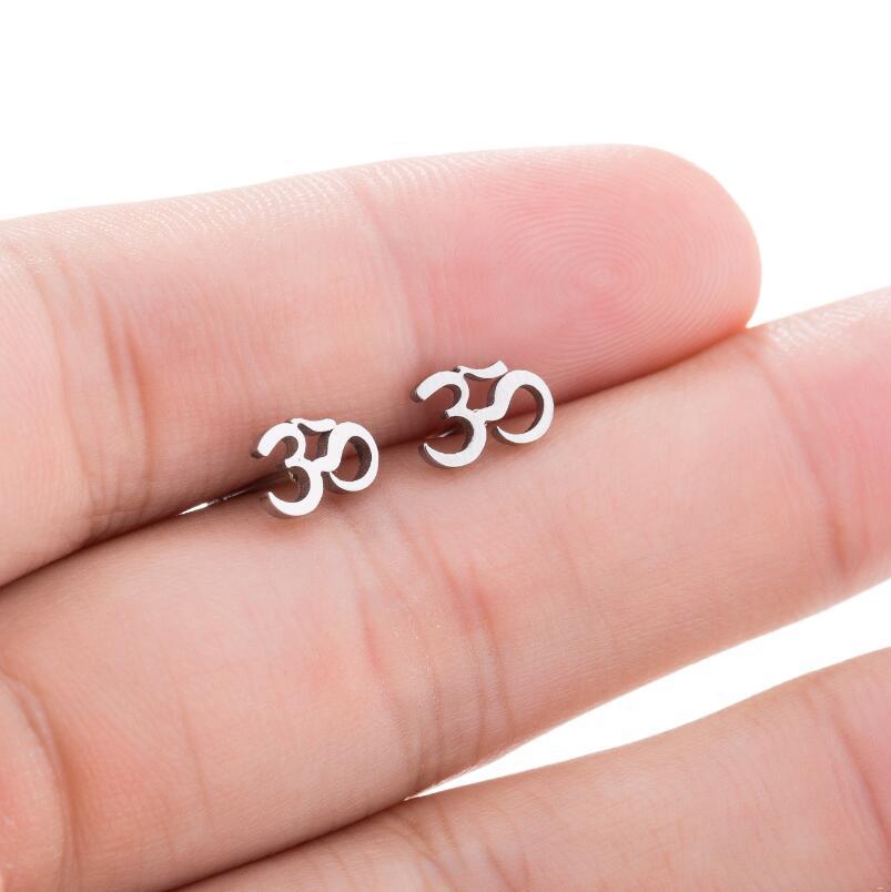 SMJEL Personalize OM Symbol Earrings Women Stainless Steel Black Earrings Motorcycle Meditation Yoga Minimalist Jewelry