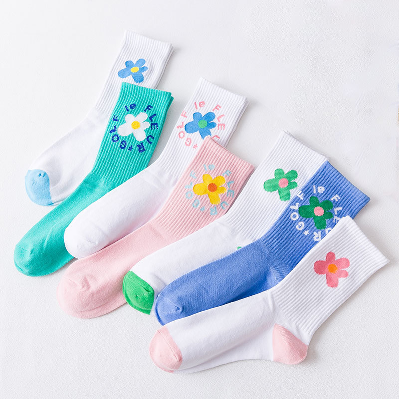 Beauty Flower Socks Golf Long Tube Harajuku Sock Women's Classics Socks Cute Print Floor Sports Long Socks White Cotton Sock