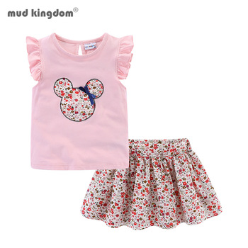 Mudkingdom Cute Girls Clothes Sets Floral 2Pcs Cartoon Kids Ruffle Sleeve Tank Top and Skirt Outfits Adorable 1