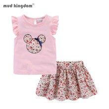 Mudkingdom sevimli kız elbise setleri çiçek 2 adet karikatür çocuklar fırfır kollu Tank Top ve etek kıyafetler sevimli
