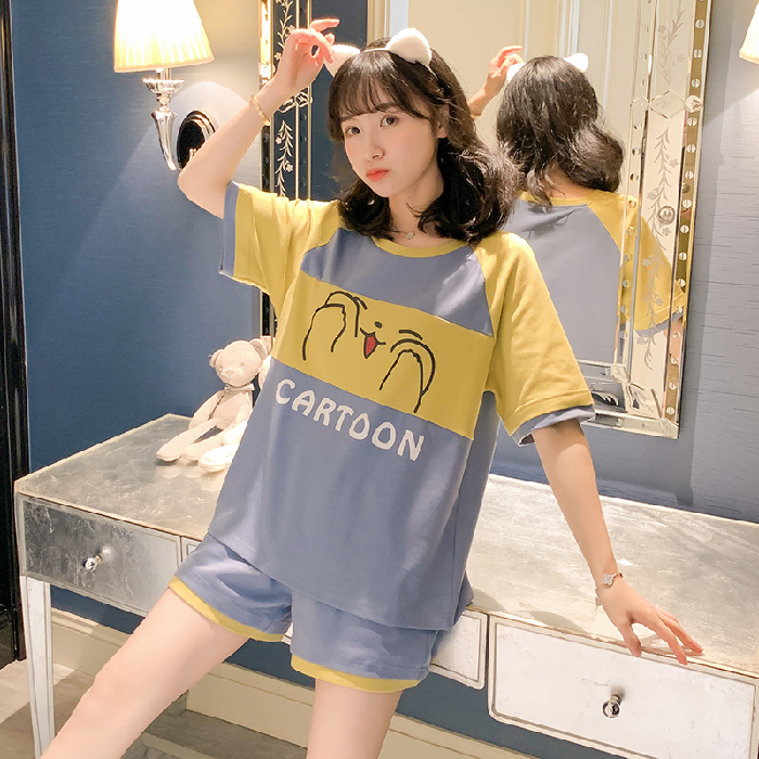 2020 Summer Cotton Pajamas For Women Loose Comfortable Pyjamas For Girl Short Sleeve&Pants Casual Sleepwear