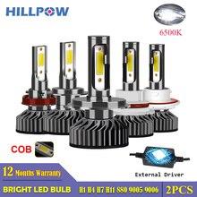 Hillpow Auto Koplamp H7 Led H4 Led H1 H11 H3 H13 H27 880 9006 9007 72W 6500K 12V Auto Koplamp Cob Mistlamp Bulb Gratis Verzending