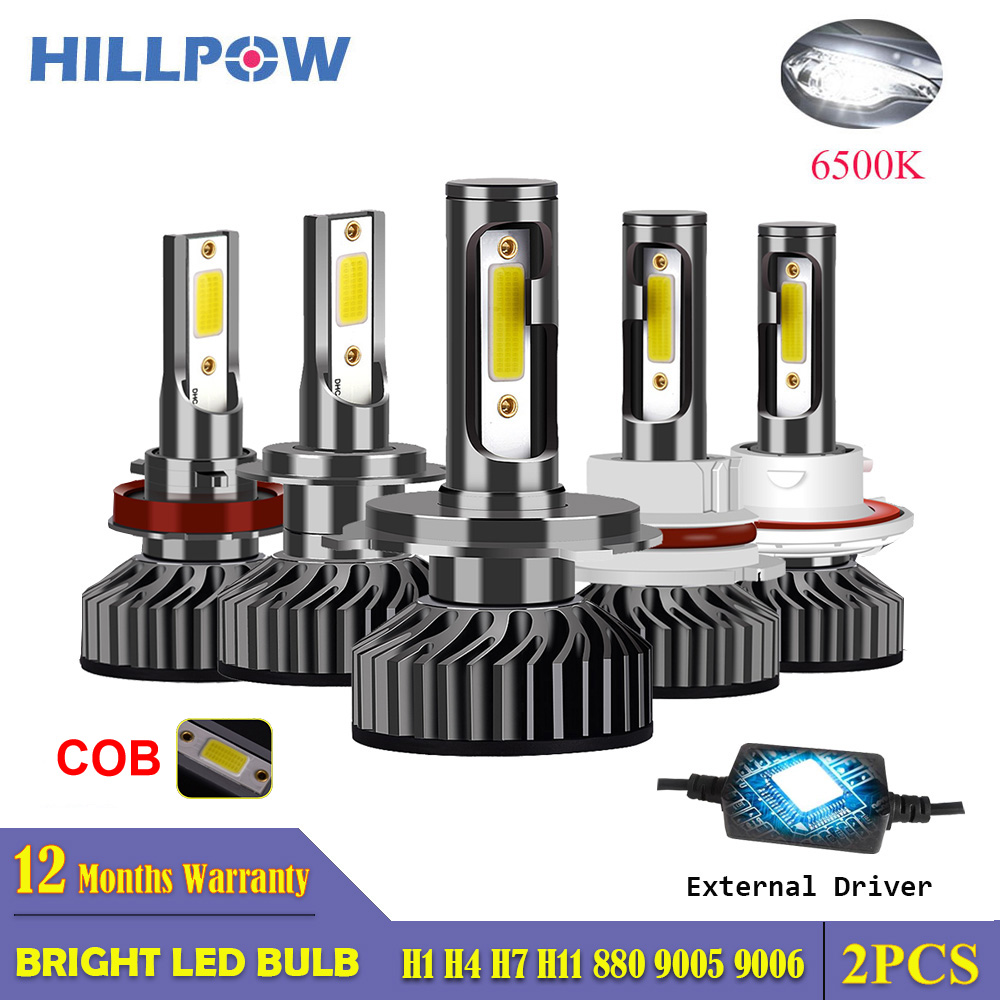 Hillpow Car Headlight H7 LED H4 LED H1 H11 H3 H13 H27 880 9006 9007 72W 6500K 12V Auto Headlamp COB Fog Light Bulb Free Shipping