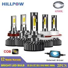 Hillpow車ヘッドライトH7 led H4 led H1 H11 H3 H13 H27 880 9006 9007 72 ワット 6500 18k 12vオートヘッドランプcobフォグライト電球送料無料