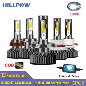 Image 1 - Hillpow farol do carro h7 led h4 h1 h11 h3 h13 h27 880 9006 9007 72w 6500k 12v auto farol cob luz de nevoeiro lâmpada frete grátis