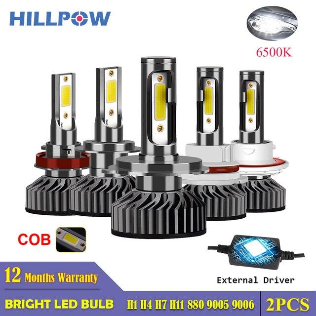 Hillpow farol do carro h7 led h4 h1 h11 h3 h13 h27 880 9006 9007 72w 6500k 12v auto farol cob luz de nevoeiro lâmpada frete grátis