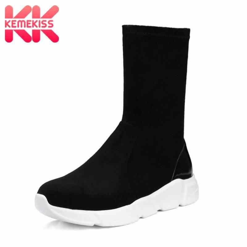 KemeKiss bota media pantorrilla para mujeres Casual calcetines elásticos mujeres Otoño Invierno comodidad al aire libre caminar pisos calzado talla 34 -39