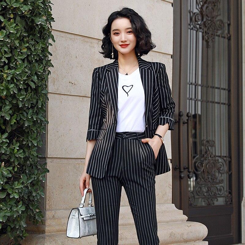 Elegant Women's Pants Suits Ladies Workwear Interview Wear Summer 2020 Feminine Striped Jacket Slim-fit Trousers Two-piece