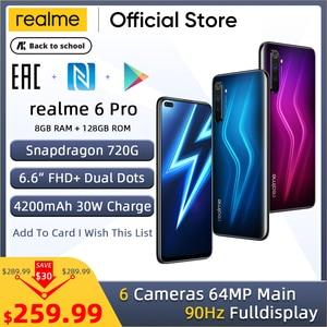 realme 6 Pro Unlockphone 8GB RAM 128GB ROM Mobile Phone Snapdragon 720G 30W Flash Charge 4200mAh Battery 64MP Camera Smartphones(China)