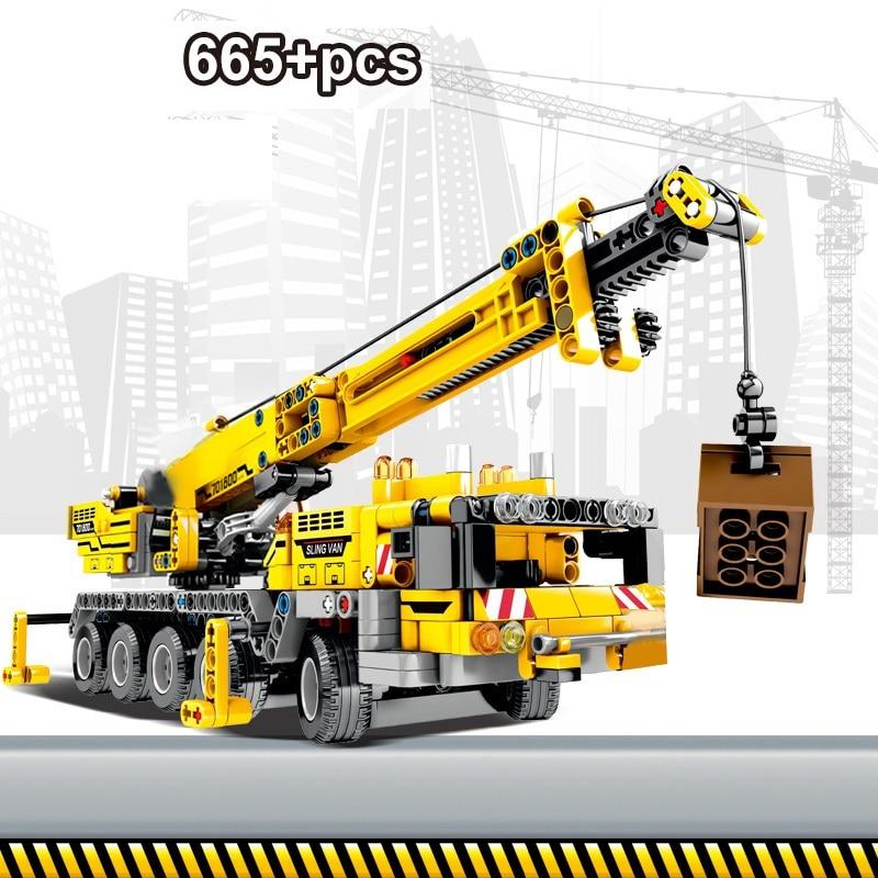 665 шт. Строительные кирпичи, городской инженерный станок, строительные блоки, техника, Обучающие кирпичи, игрушки для детей